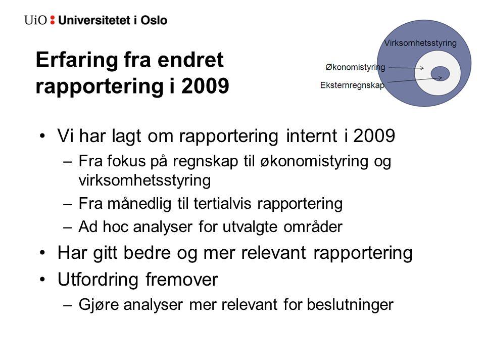 Erfaring fra endret rapportering i 2009 Vi har lagt om rapportering internt i 2009 –Fra fokus på regnskap til økonomistyring og virksomhetsstyring –Fr