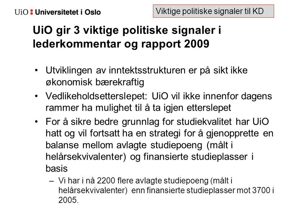 UiO gir 3 viktige politiske signaler i lederkommentar og rapport 2009 Utviklingen av inntektsstrukturen er på sikt ikke økonomisk bærekraftig Vedlikeh