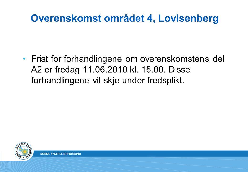 Overenskomst området 4, Lovisenberg Frist for forhandlingene om overenskomstens del A2 er fredag 11.06.2010 kl. 15.00. Disse forhandlingene vil skje u