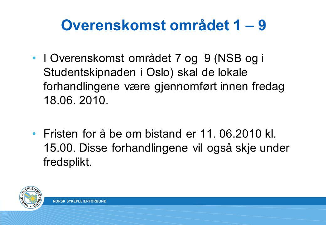 Overenskomst området 1 – 9 I Overenskomst området 7 og 9 (NSB og i Studentskipnaden i Oslo) skal de lokale forhandlingene være gjennomført innen freda