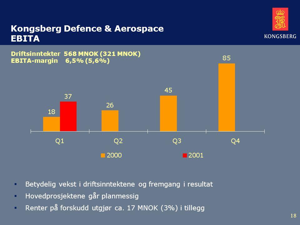 18 Kongsberg Defence & Aerospace EBITA  Betydelig vekst i driftsinntektene og fremgang i resultat  Hovedprosjektene går planmessig  Renter på forskudd utgjør ca.
