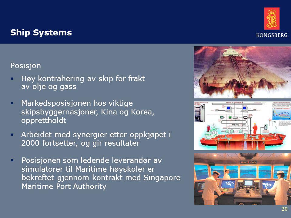 20 Ship Systems Posisjon  Høy kontrahering av skip for frakt av olje og gass  Markedsposisjonen hos viktige skipsbyggernasjoner, Kina og Korea, opprettholdt  Arbeidet med synergier etter oppkjøpet i 2000 fortsetter, og gir resultater  Posisjonen som ledende leverandør av simulatorer til Maritime høyskoler er bekreftet gjennom kontrakt med Singapore Maritime Port Authority