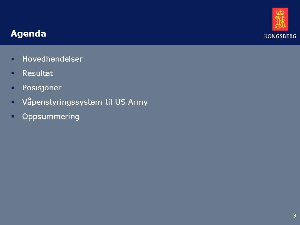 3 Agenda  Hovedhendelser  Resultat  Posisjoner  Våpenstyringssystem til US Army  Oppsummering