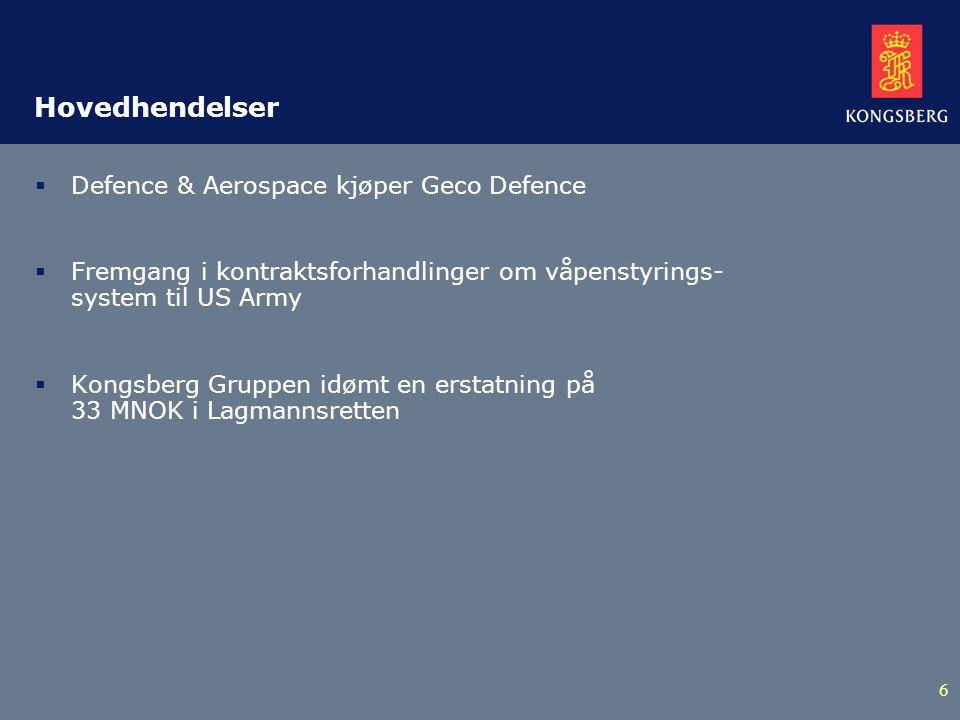 6 Hovedhendelser  Defence & Aerospace kjøper Geco Defence  Fremgang i kontraktsforhandlinger om våpenstyrings- system til US Army  Kongsberg Gruppen idømt en erstatning på 33 MNOK i Lagmannsretten