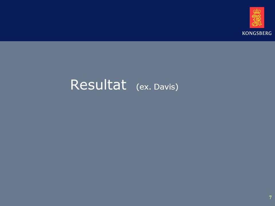 7 Resultat (ex. Davis)