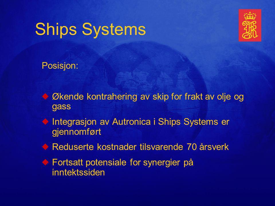 Ships Systems Posisjon: uØkende kontrahering av skip for frakt av olje og gass uIntegrasjon av Autronica i Ships Systems er gjennomført uReduserte kostnader tilsvarende 70 årsverk uFortsatt potensiale for synergier på inntektssiden