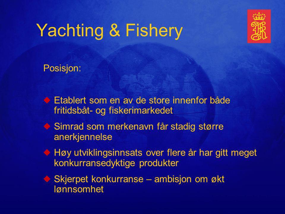 Yachting & Fishery Posisjon: uEtablert som en av de store innenfor både fritidsbåt- og fiskerimarkedet uSimrad som merkenavn får stadig større anerkjennelse uHøy utviklingsinnsats over flere år har gitt meget konkurransedyktige produkter uSkjerpet konkurranse – ambisjon om økt lønnsomhet