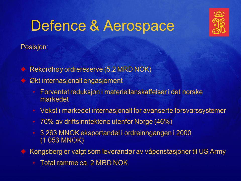 Defence & Aerospace Posisjon: uRekordhøy ordrereserve (5,2 MRD NOK) uØkt internasjonalt engasjement Forventet reduksjon i materiellanskaffelser i det norske markedet Vekst i markedet internasjonalt for avanserte forsvarssystemer 70% av driftsinntektene utenfor Norge (46%) 3 263 MNOK eksportandel i ordreinngangen i 2000 (1 053 MNOK) uKongsberg er valgt som leverandør av våpenstasjoner til US Army Total ramme ca.