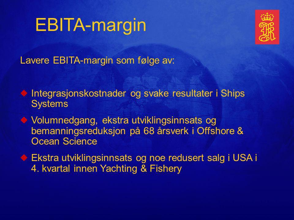 Lavere EBITA-margin som følge av: uIntegrasjonskostnader og svake resultater i Ships Systems uVolumnedgang, ekstra utviklingsinnsats og bemanningsreduksjon på 68 årsverk i Offshore & Ocean Science uEkstra utviklingsinnsats og noe redusert salg i USA i 4.