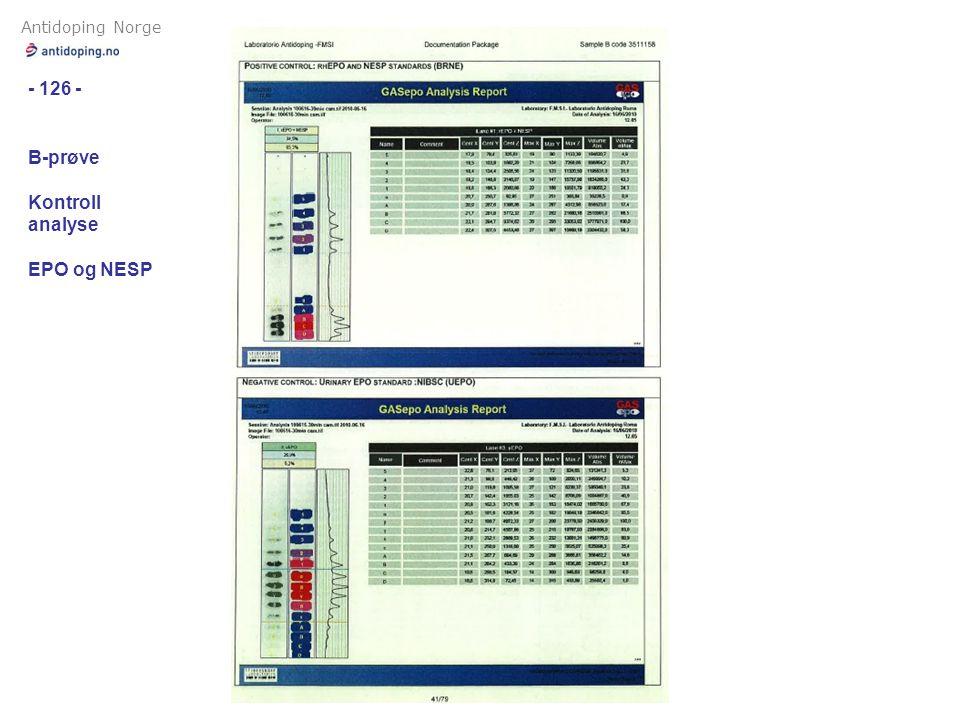 Antidoping Norge - 126 - B-prøve Kontroll analyse EPO og NESP