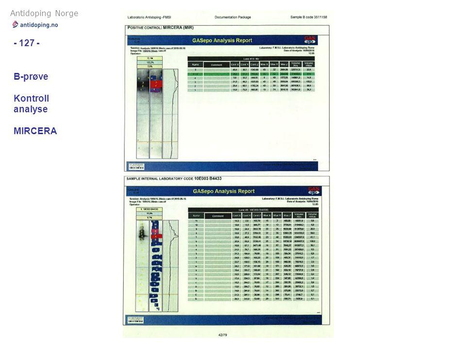Antidoping Norge - 127 - B-prøve Kontroll analyse MIRCERA
