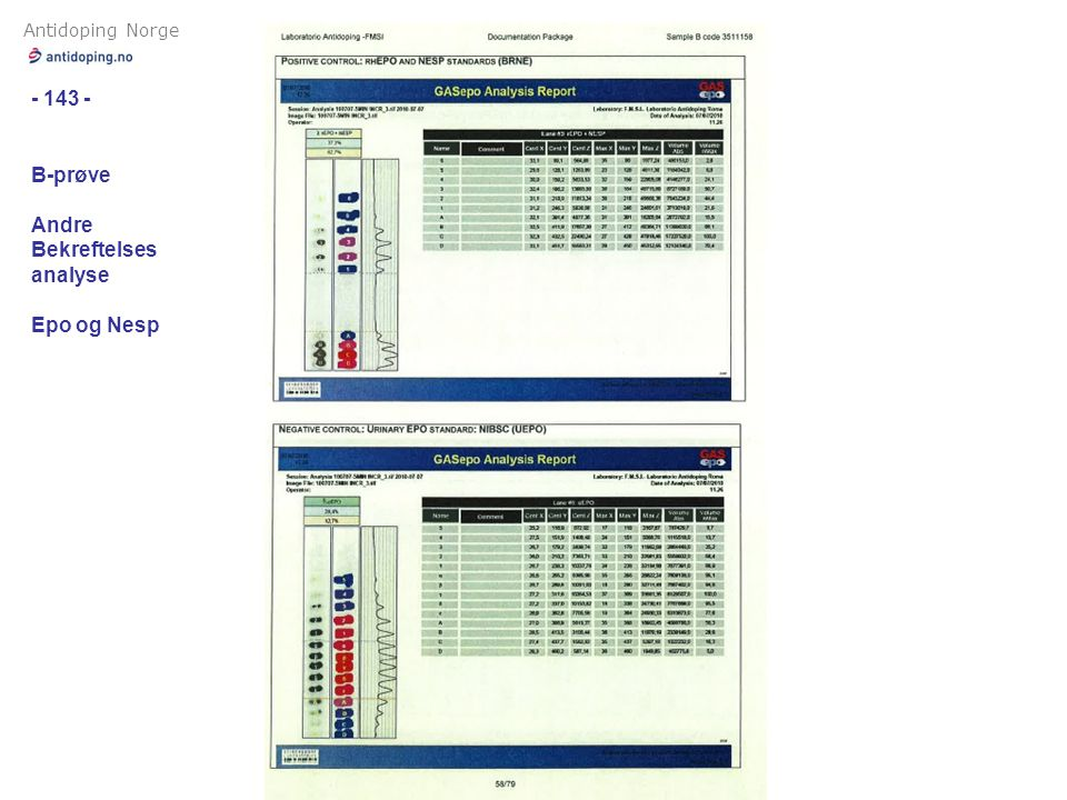 Antidoping Norge - 143 - B-prøve Andre Bekreftelses analyse Epo og Nesp