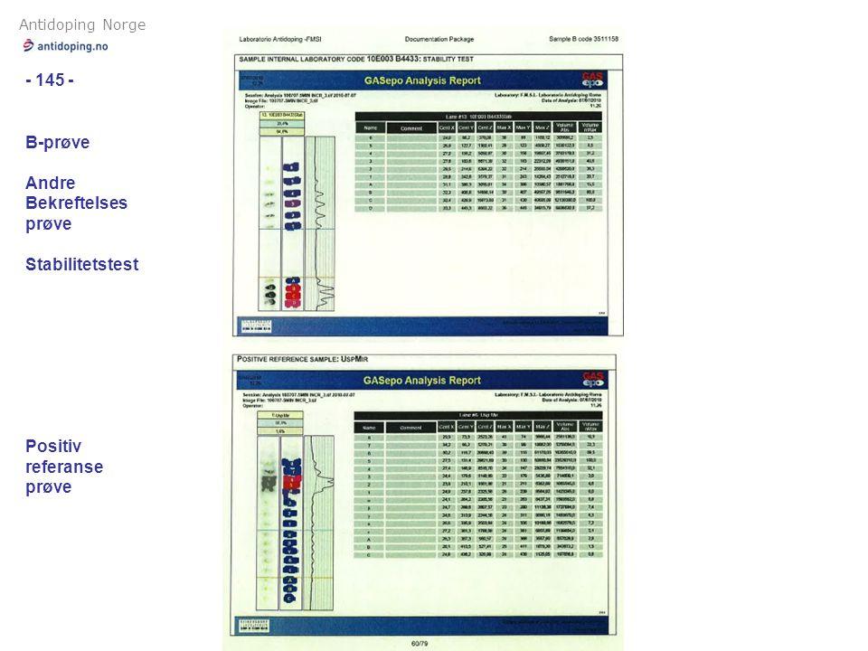 Antidoping Norge - 145 - B-prøve Andre Bekreftelses prøve Stabilitetstest Positiv referanse prøve