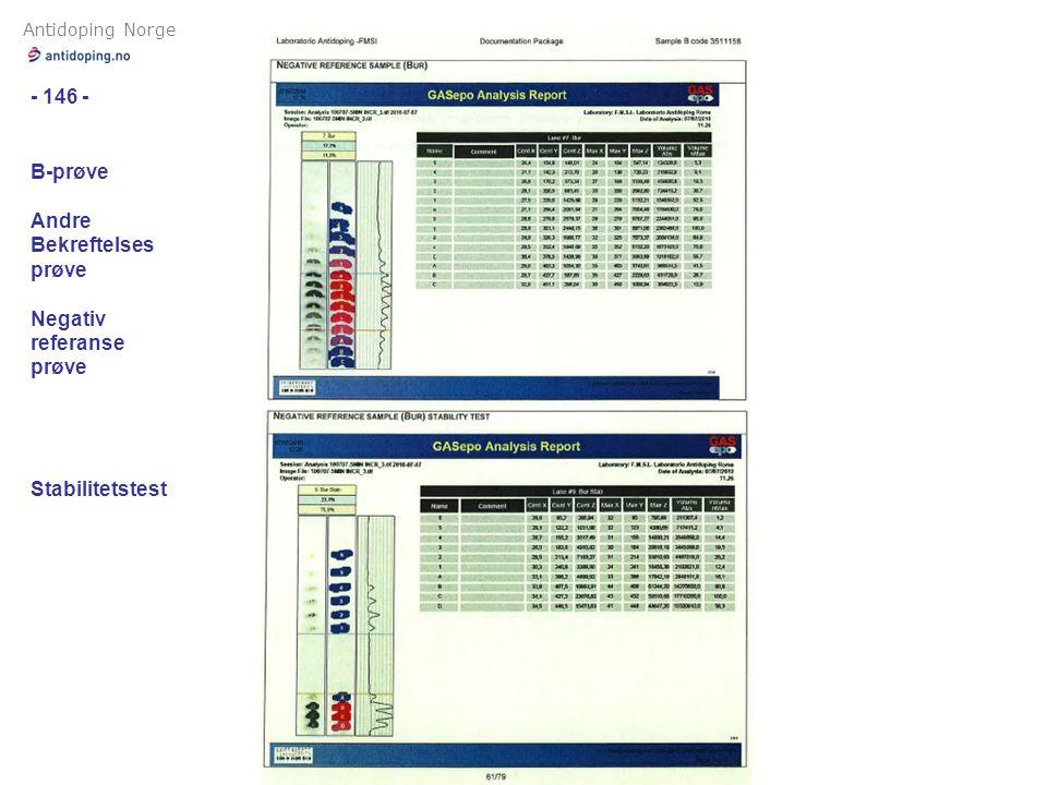 Antidoping Norge - 146 - B-prøve Andre Bekreftelses prøve Negativ referanse prøve Stabilitetstest