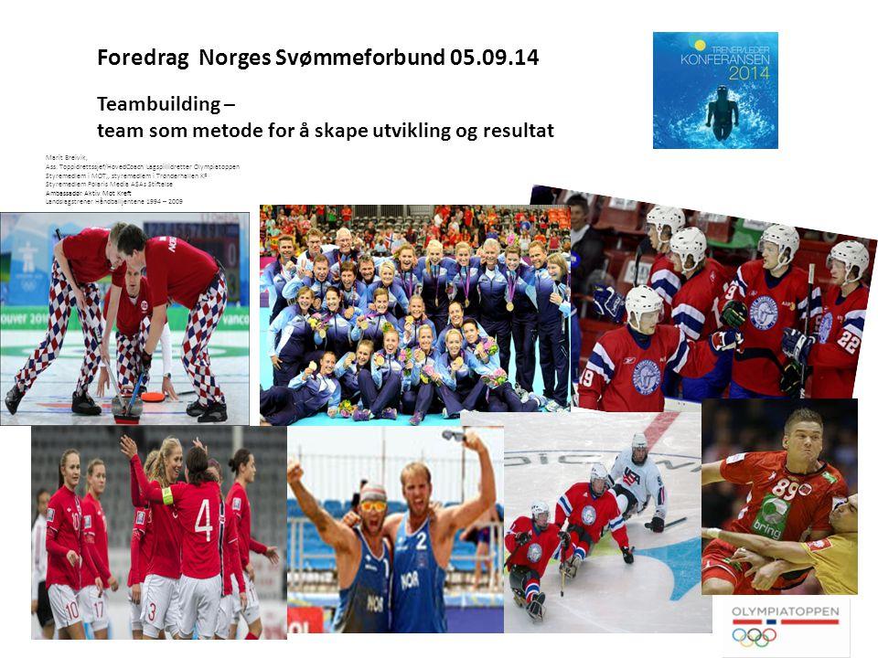 Foredrag Norges Svømmeforbund 05.09.14 Teambuilding – team som metode for å skape utvikling og resultat Marit Breivik, Ass.