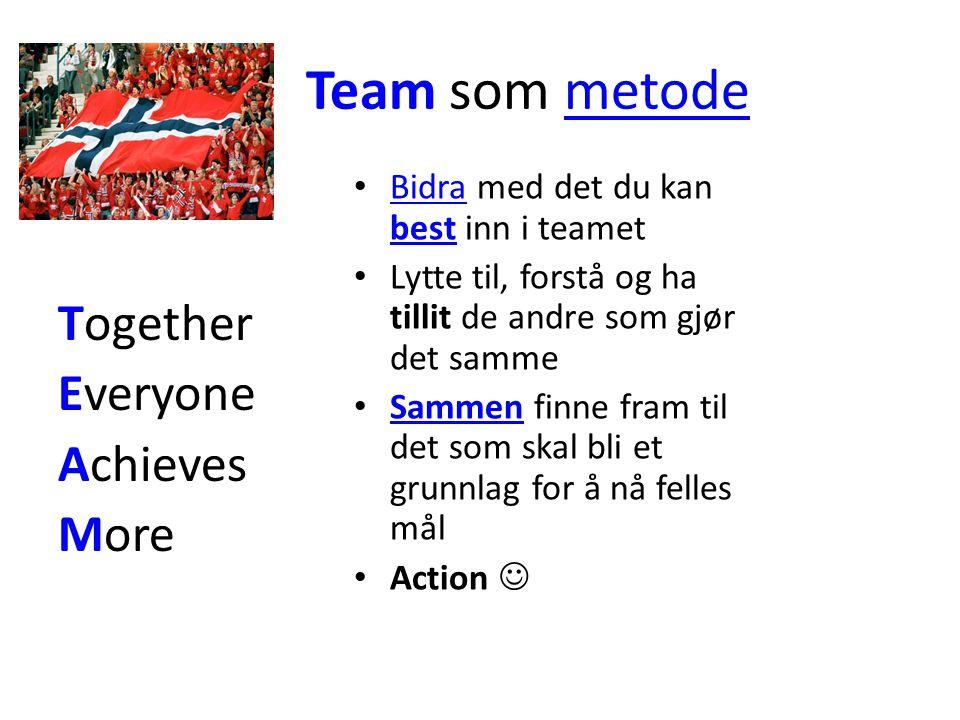 Team som metodemetode Together Everyone Achieves More Bidra med det du kan best inn i teamet Bidra best Lytte til, forstå og ha tillit de andre som gjør det samme Sammen finne fram til det som skal bli et grunnlag for å nå felles mål Sammen Action