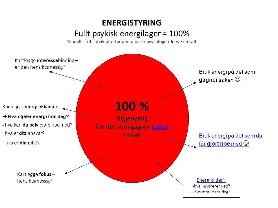 ENERGISTYRING Fullt psykisk energilager = 100% Modell - fritt utviklet etter den danske psykologen Jens Frimodt 100 % tilgjengelig for det som gagner saken I nuet Kartlegge energilekkasjer :  Hva stjeler energi hos deg.