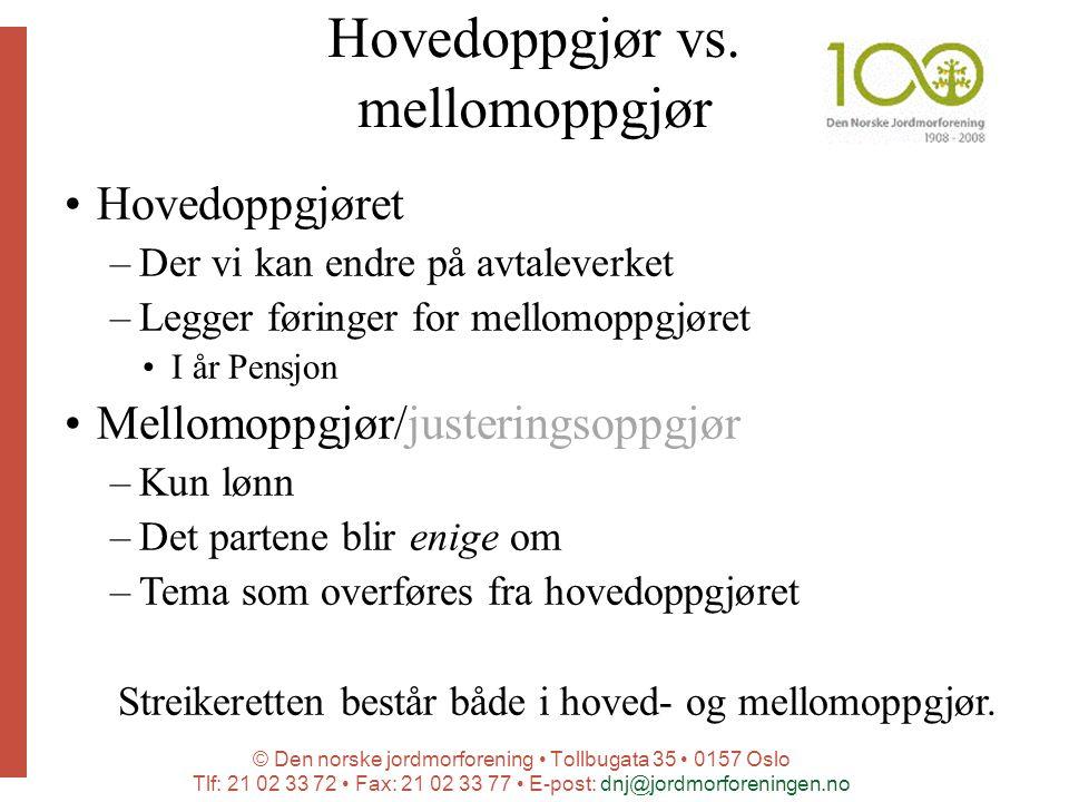 © Den norske jordmorforening Tollbugata 35 0157 Oslo Tlf: 21 02 33 72 Fax: 21 02 33 77 E-post: dnj@jordmorforeningen.no Hovedoppgjør vs. mellomoppgjør