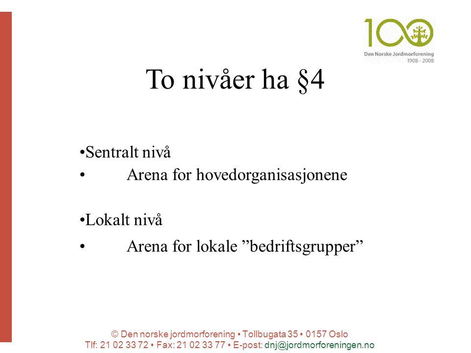 © Den norske jordmorforening Tollbugata 35 0157 Oslo Tlf: 21 02 33 72 Fax: 21 02 33 77 E-post: dnj@jordmorforeningen.no To nivåer ha §4 Sentralt nivå