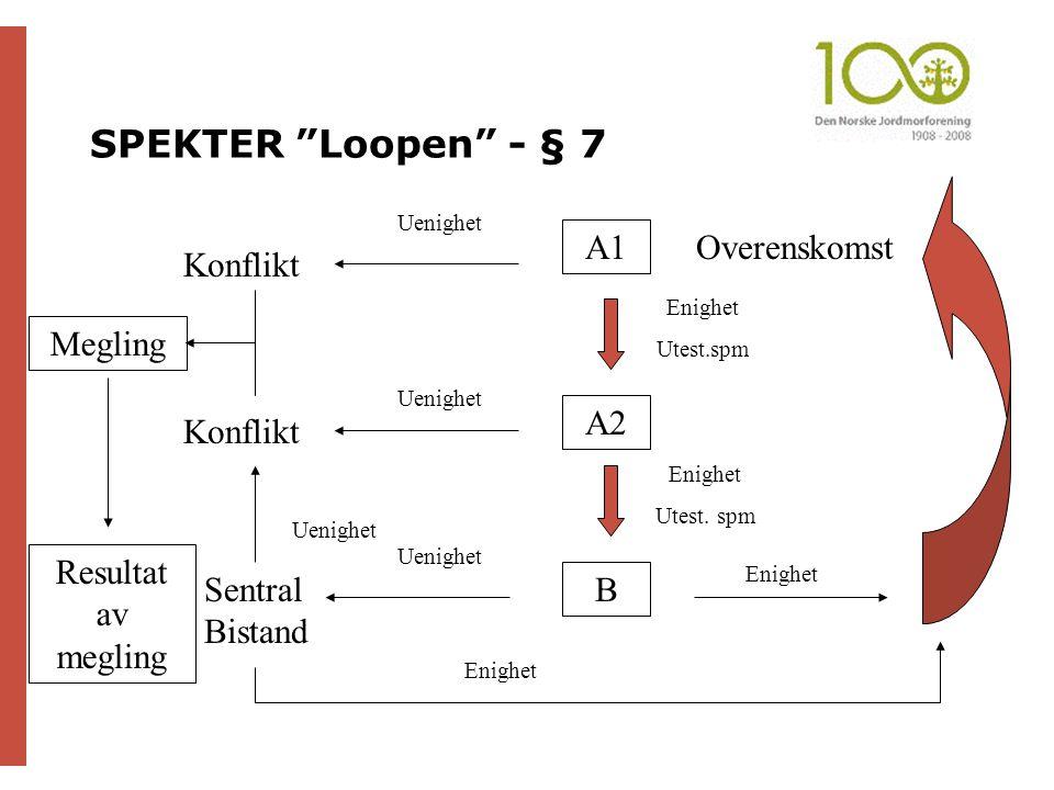 """SPEKTER """"Loopen"""" - § 7 A1 A2 B Enighet Uenighet Sentral Bistand Enighet Utest. spm Enighet Utest.spm Konflikt Uenighet Konflikt Uenighet Enighet Overe"""