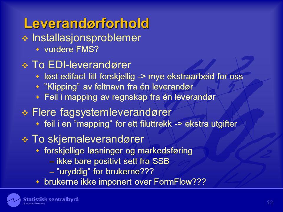 """12 Leverandørforhold  Installasjonsproblemer  vurdere FMS?  To EDI-leverandører  løst edifact litt forskjellig -> mye ekstraarbeid for oss  """"Klip"""