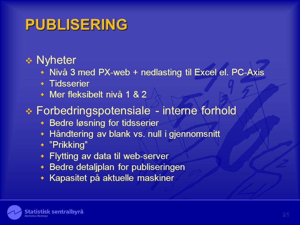 21 PUBLISERING  Nyheter  Nivå 3 med PX-web + nedlasting til Excel el. PC-Axis  Tidsserier  Mer fleksibelt nivå 1 & 2  Forbedringspotensiale - int