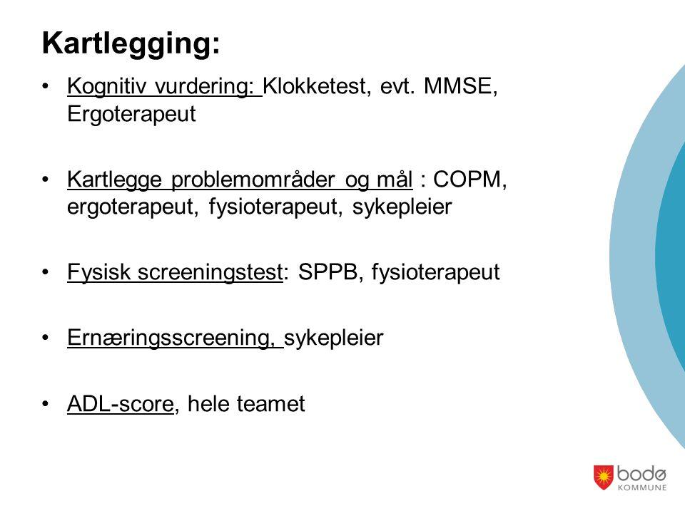 Kartlegging: Kognitiv vurdering: Klokketest, evt. MMSE, Ergoterapeut Kartlegge problemområder og mål : COPM, ergoterapeut, fysioterapeut, sykepleier F