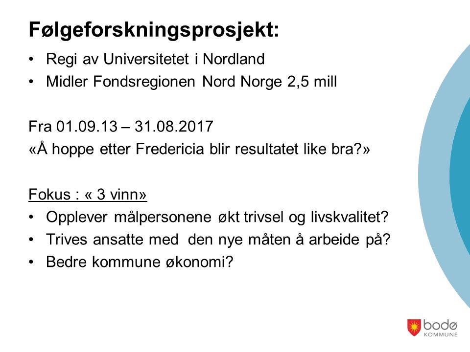 Følgeforskningsprosjekt: Regi av Universitetet i Nordland Midler Fondsregionen Nord Norge 2,5 mill Fra 01.09.13 – 31.08.2017 «Å hoppe etter Fredericia