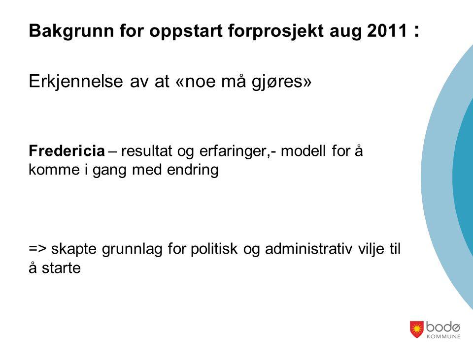 Bakgrunn for oppstart forprosjekt aug 2011 : Erkjennelse av at «noe må gjøres» Fredericia – resultat og erfaringer,- modell for å komme i gang med end
