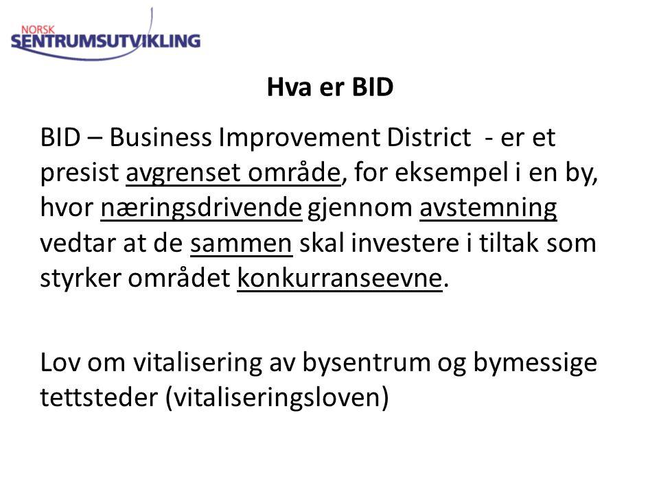 Hva er BID BID – Business Improvement District - er et presist avgrenset område, for eksempel i en by, hvor næringsdrivende gjennom avstemning vedtar at de sammen skal investere i tiltak som styrker området konkurranseevne.