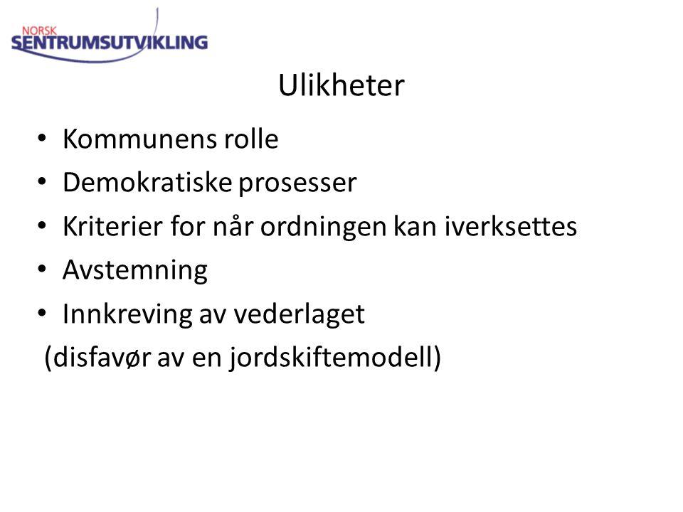 Ulikheter Kommunens rolle Demokratiske prosesser Kriterier for når ordningen kan iverksettes Avstemning Innkreving av vederlaget (disfavør av en jordskiftemodell)