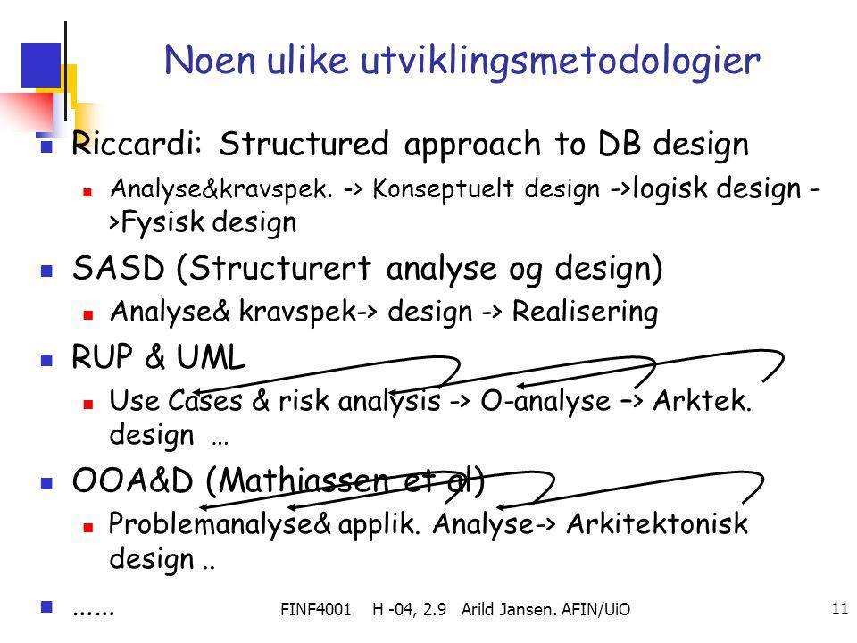 FINF4001 H -04, 2.9 Arild Jansen. AFIN/UiO 11 Noen ulike utviklingsmetodologier Riccardi: Structured approach to DB design Analyse&kravspek. -> Konsep