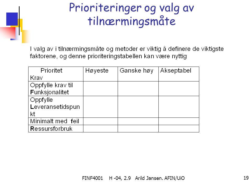 FINF4001 H -04, 2.9 Arild Jansen. AFIN/UiO 19 Prioriteringer og valg av tilnærmingsmåte