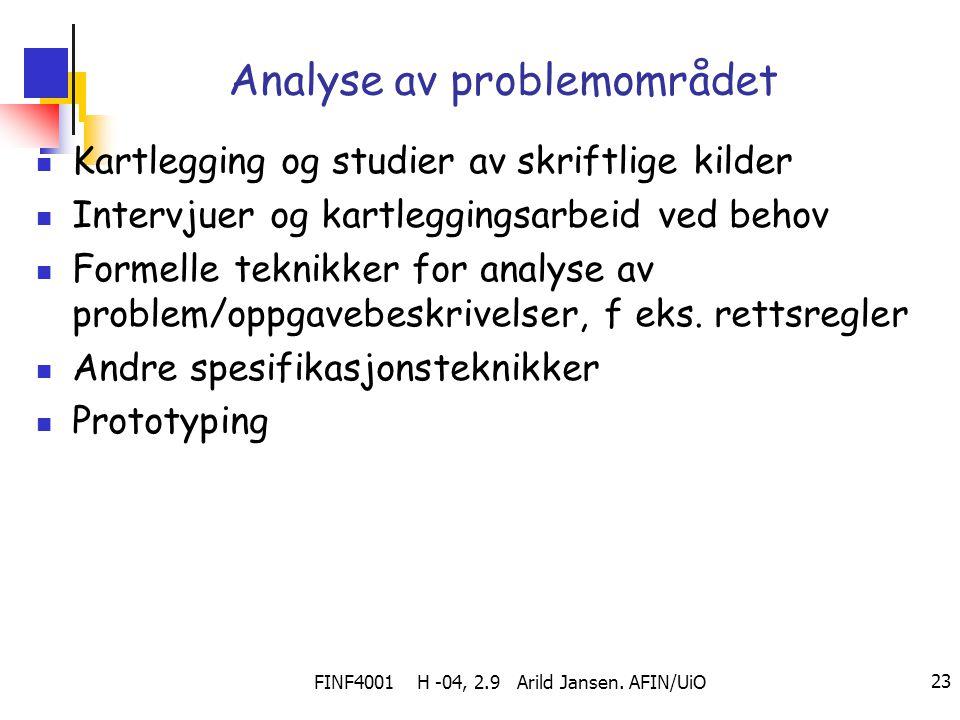 FINF4001 H -04, 2.9 Arild Jansen. AFIN/UiO 23 Analyse av problemområdet Kartlegging og studier av skriftlige kilder Intervjuer og kartleggingsarbeid v