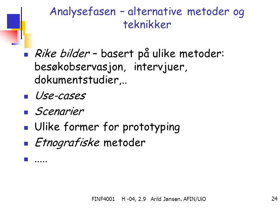 FINF4001 H -04, 2.9 Arild Jansen. AFIN/UiO 24 Analysefasen – alternative metoder og teknikker Rike bilder – basert på ulike metoder: besøkobservasjon,