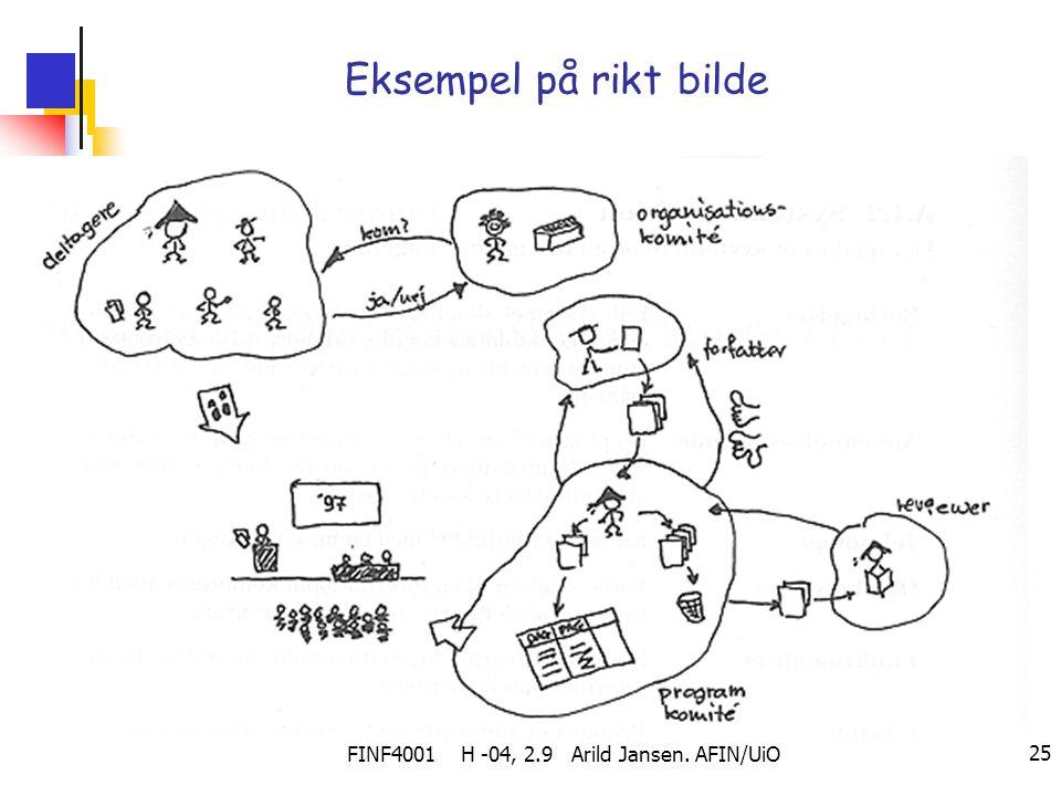 FINF4001 H -04, 2.9 Arild Jansen. AFIN/UiO 25 Eksempel på rikt bilde