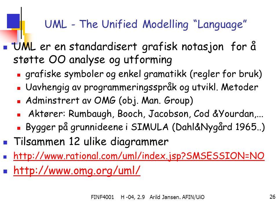 """FINF4001 H -04, 2.9 Arild Jansen. AFIN/UiO 26 UML - The Unified Modelling """"Language"""" UML er en standardisert grafisk notasjon for å støtte OO analyse"""