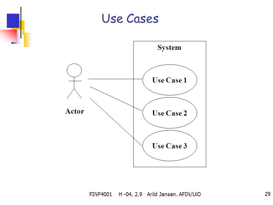 FINF4001 H -04, 2.9 Arild Jansen. AFIN/UiO 29 Use Cases System Use Case 2 Use Case 3 Use Case 1 Actor