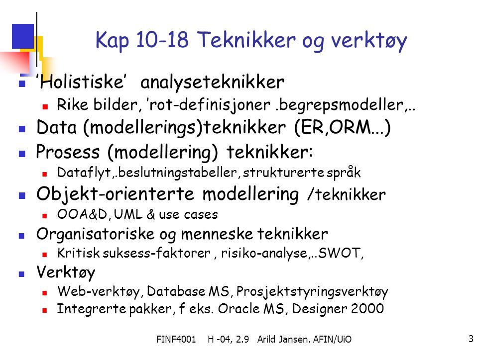 FINF4001 H -04, 2.9 Arild Jansen. AFIN/UiO 3 Kap 10-18 Teknikker og verktøy 'Holistiske' analyseteknikker Rike bilder, 'rot-definisjoner.begrepsmodell