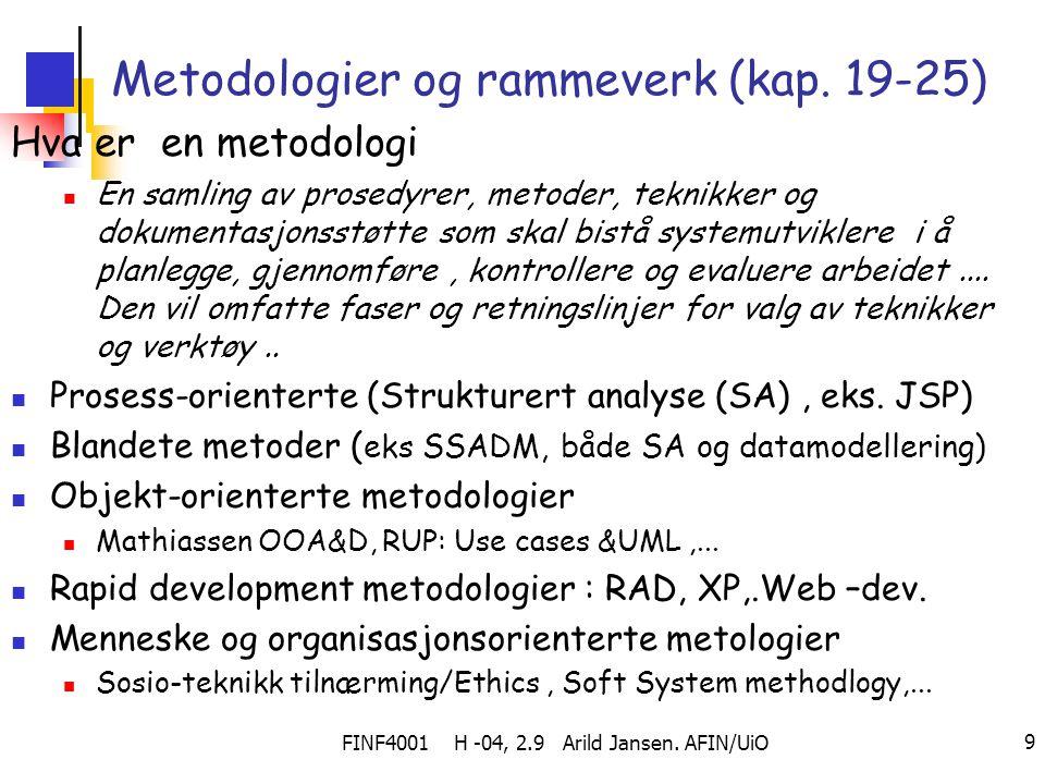 FINF4001 H -04, 2.9 Arild Jansen. AFIN/UiO 9 Metodologier og rammeverk (kap. 19-25) Hva er en metodologi En samling av prosedyrer, metoder, teknikker