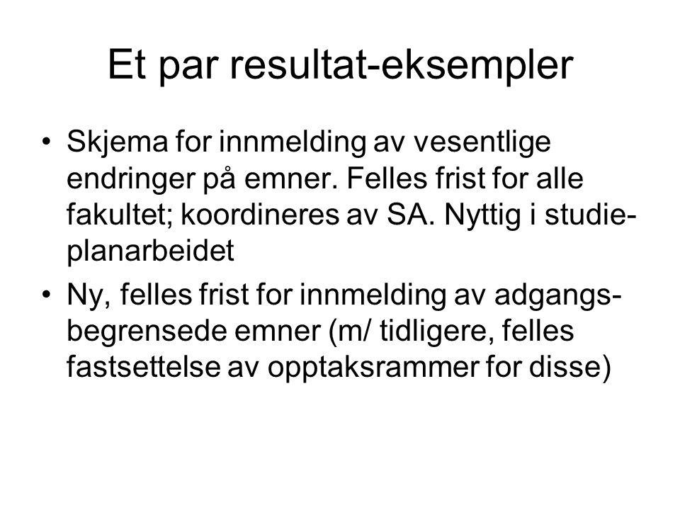 Et par resultat-eksempler Skjema for innmelding av vesentlige endringer på emner.