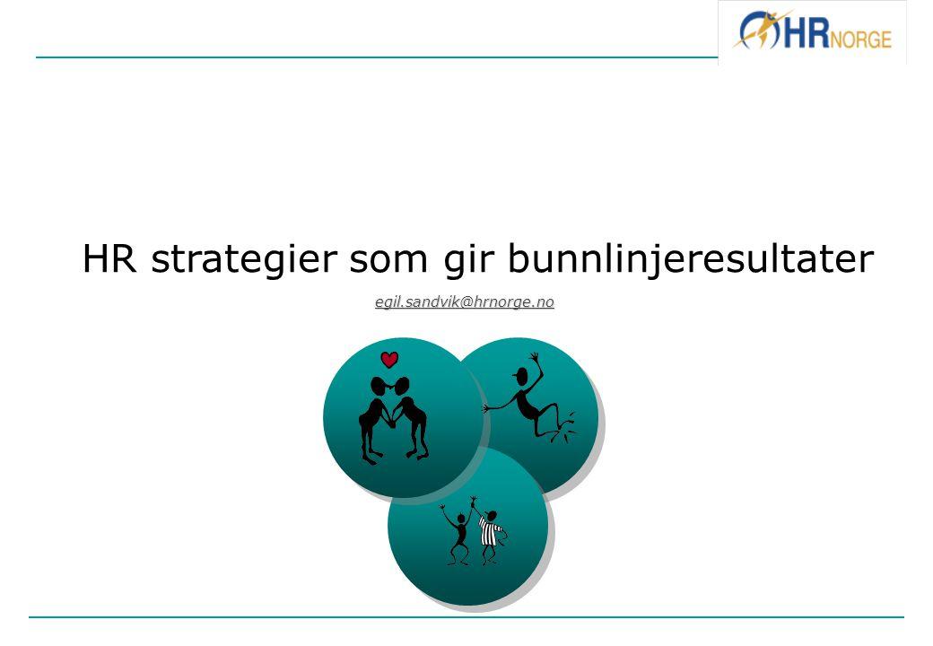 HR strategier som gir bunnlinjeresultater 1.god kobling av forretningmodell og kompetanse 2.