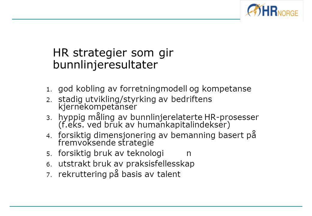 HR strategier som gir bunnlinjeresultater 1. god kobling av forretningmodell og kompetanse 2. stadig utvikling/styrking av bedriftens kjernekompetanse