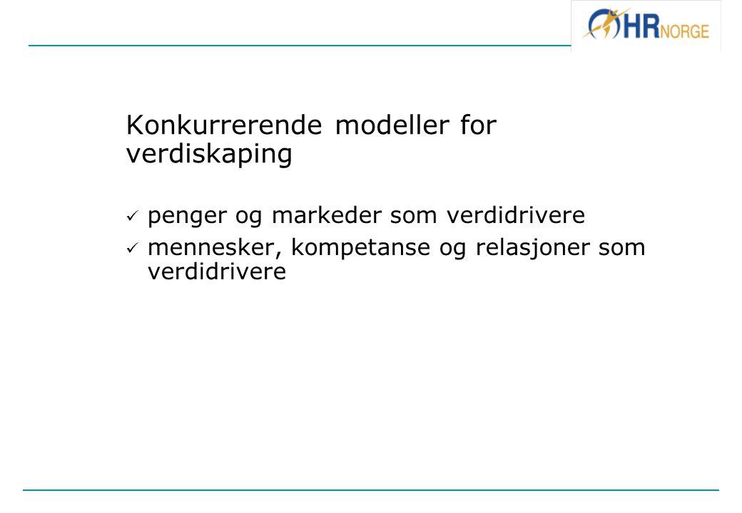 Konkurrerende modeller for verdiskaping penger og markeder som verdidrivere mennesker, kompetanse og relasjoner som verdidrivere