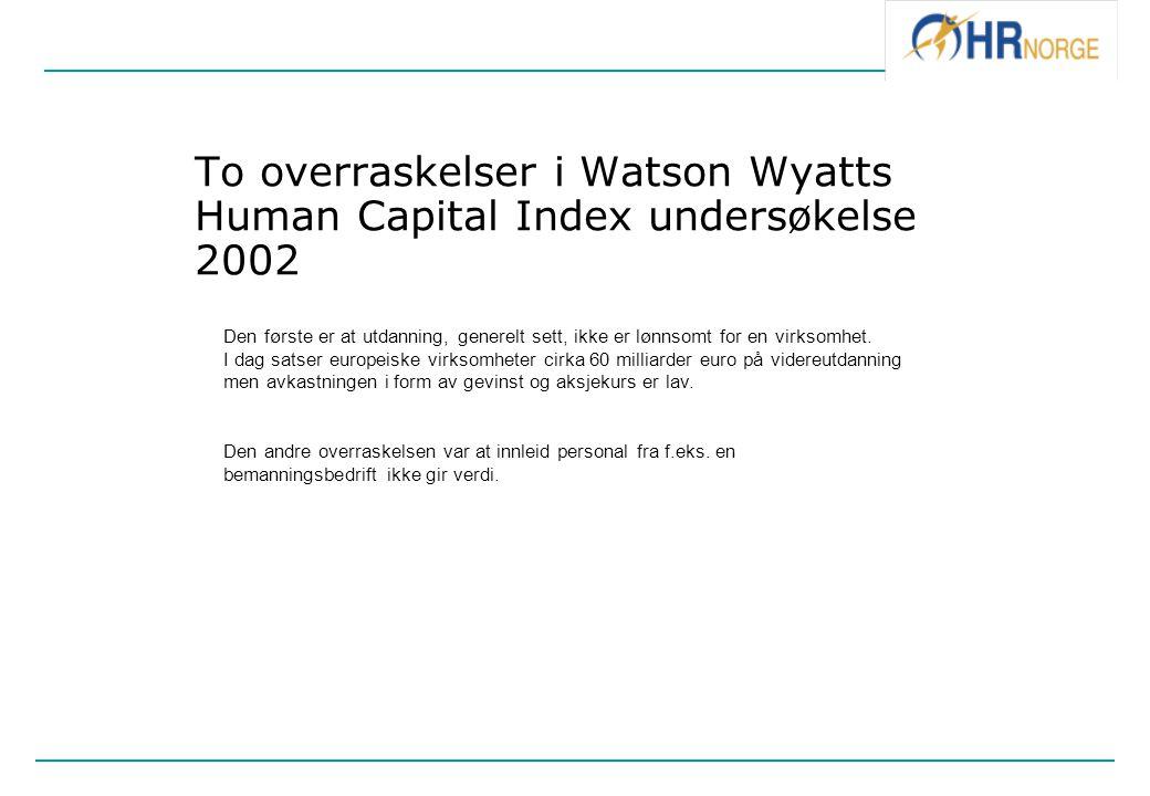 To overraskelser i Watson Wyatts Human Capital Index undersøkelse 2002 Den første er at utdanning, generelt sett, ikke er lønnsomt for en virksomhet.