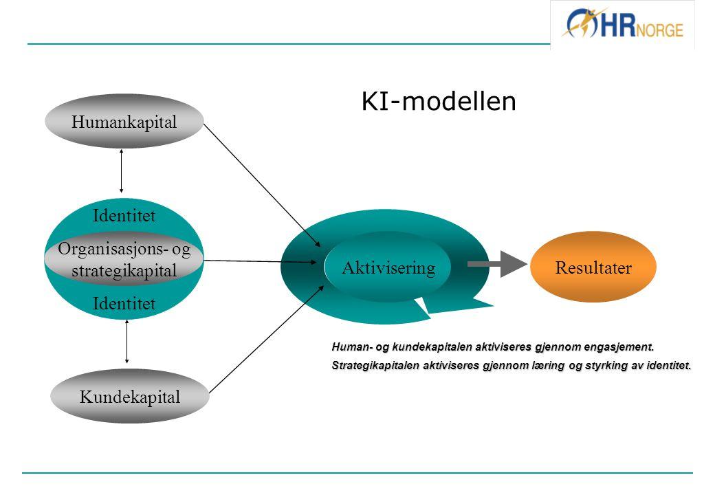 Identitet Humankapital AktiviseringResultater Organisasjons- og strategikapital Kundekapital KI-modellen Human- og kundekapitalen aktiviseres gjennom