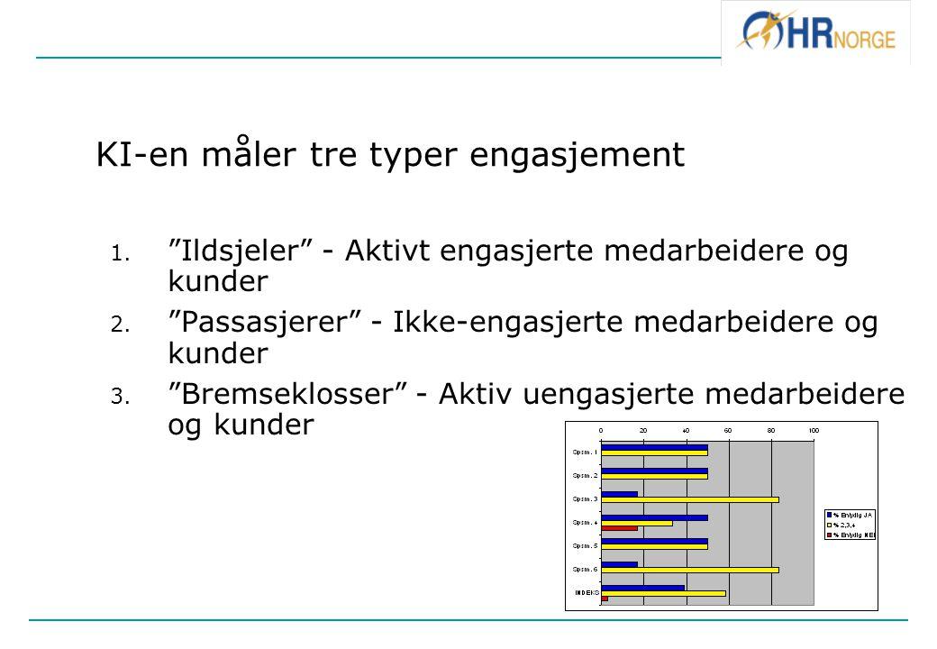 """KI-en måler tre typer engasjement 1. """"Ildsjeler"""" - Aktivt engasjerte medarbeidere og kunder 2. """"Passasjerer"""" - Ikke-engasjerte medarbeidere og kunder"""