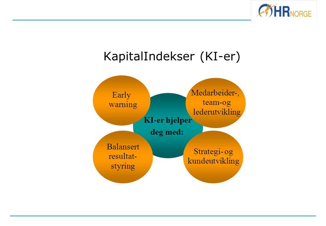 KapitalIndekser (KI-er) KI-er hjelper deg med: Early warning Medarbeider-, team-og lederutvikling Balansert resultat- styring Strategi- og kundeutvikl