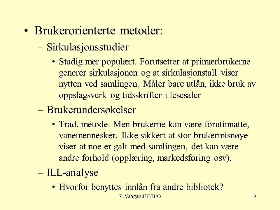 R.Vaagan JBI/HiO9 Brukerorienterte metoder: –Sirkulasjonsstudier Stadig mer populært.