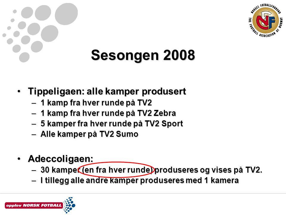Sesongen 2008 Tippeligaen: alle kamper produsertTippeligaen: alle kamper produsert –1 kamp fra hver runde på TV2 –1 kamp fra hver runde på TV2 Zebra –